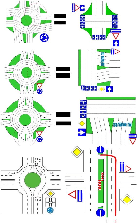 Порядок проезда перекрестка с круговым движением, будет зависить от того, какие дороги на таком перекрестке...