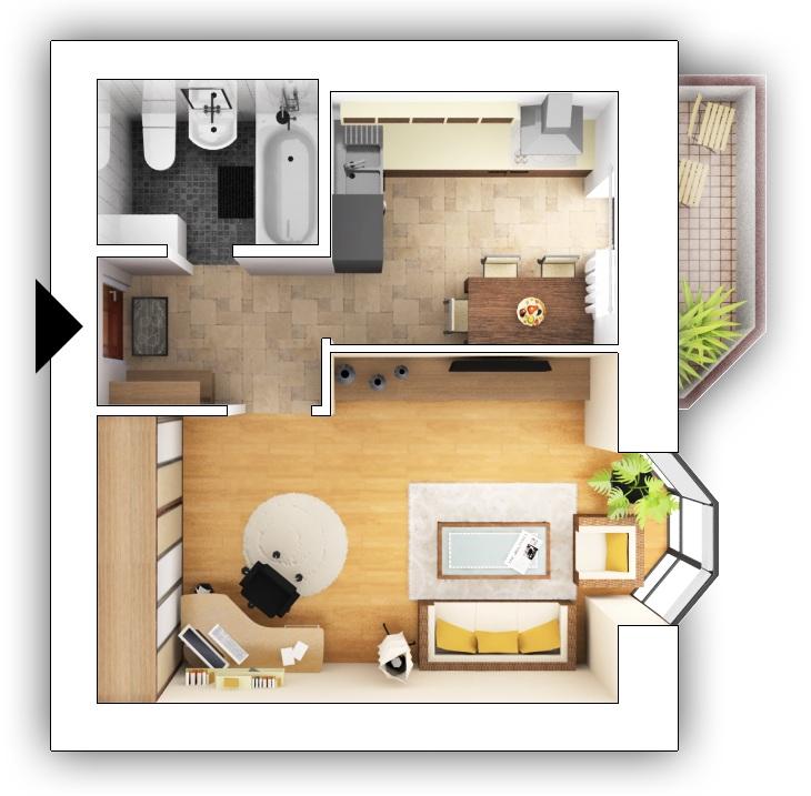 Дизайн однокомнатной квартиры 35 кв м