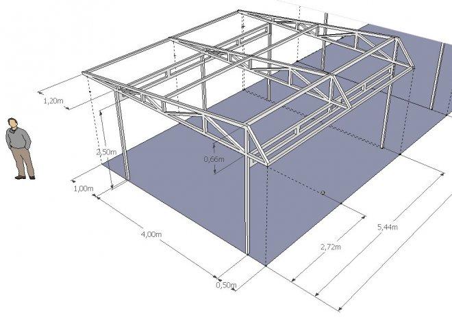 Навесы из металлопрофиля схема конструкции односкатная
