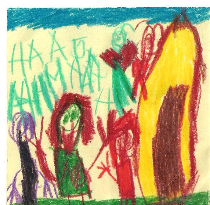 Детское творчество.  Давно хотела выложить детские рисунки - рисунки дочери от 4 лет и одной соседской девочки.